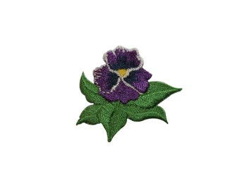 ID #6906 Purple Lily Iris Flora Flower Plant Iron On Embroidered Patch Applique