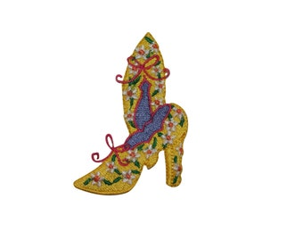 ID #7366 Yellow Flower High Heel Shoe Fashion Iron On Embroidered Patch Applique