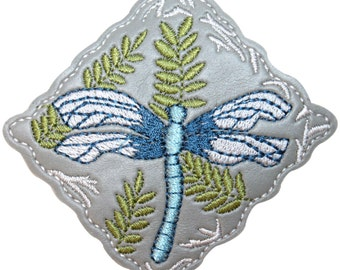 ID #1687 Dragonfly Bug Garden Design Square Embroidered Iron On Badge Applique Patch