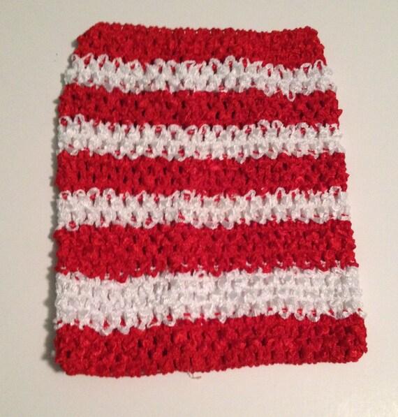"""Red & White Striped 9"""" Crochet Tube Top for Tutu Dresses"""