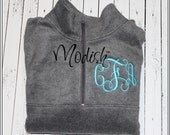 Monogrammed Fleece Half Zip Pullover Jacket Custom Personalized Embroidered.
