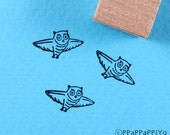 flying Owl 03 Small Rubber Stamp