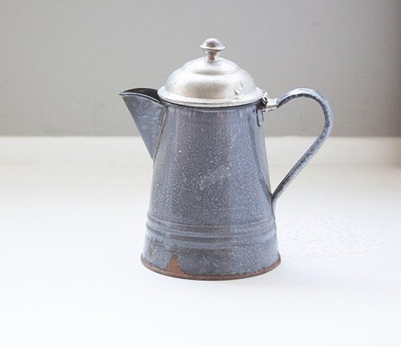 Enamel Kitchen Accessories: Gray Enamel Coffee Pot Rustic Kitchen Decor