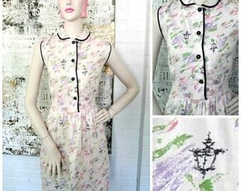 Vintage 1950s Pink Watercolour Novelty Print Day Dress XL