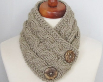Hand Knitted Cowl Scarf With Wooden Buttons-Neckwarmer Winter ,Fall Fashion, Chunky Scarf,Coffe milk/beige color (6)