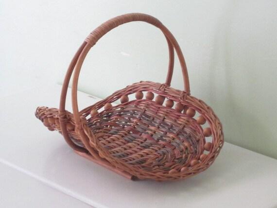 Vintage Wicker Flower Gathering Basket With Wood Bead Detail