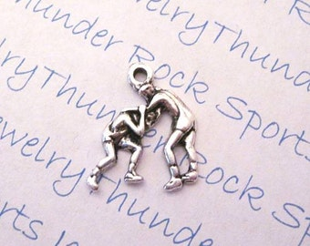 Antique Silver Plated Wrestling Wrestlers Sports Charm Pendant