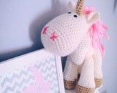 Medium Unicorn Crochet Plush Toy - White and Pink - Ready to Ship