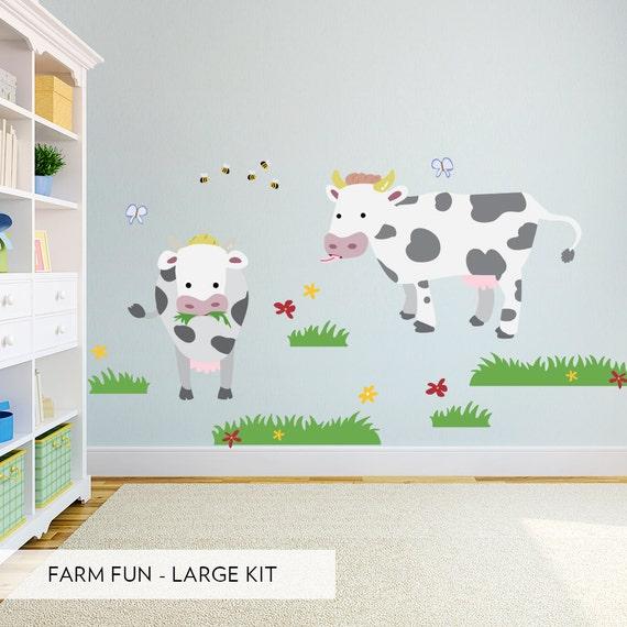 Kids Room Wall Decals Farm Wall Decals Farm Animal Decals: Farm Fun Printed Wall Decal Large Kit Farm Animal Decal Cow