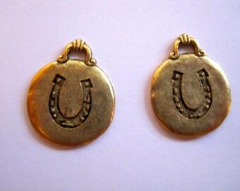 2 Horse Shoe Antique GOLD Disc Pendant