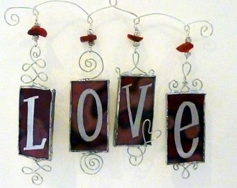 Stained Glass Suncatcher - love