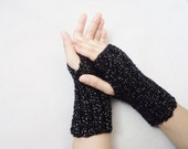 Knitted Gloves, Fingirless, Mittens, women accessories, black gloves, silvery gloves, winter gifts, for her, winter fashion, Arm Warmers, - BloomedFlower