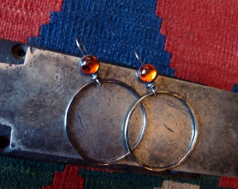 Amber Oxidized Sterling Silver Large Hoops Vermont Artisan Metalsmith Work Tribal Earthy
