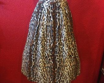 1950s Wild Leopard Print Dirndl Faux Fur