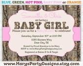 Camo Girl Baby Shower Invitation - Tree Camouflage Hunting Pink - Digital Printable JPEG PDF Evite