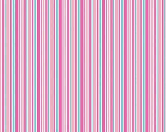 Lovey Stripes Pink half Yard Cut - Riley Blake Designs-Cotton Fabric-Pink Fabric