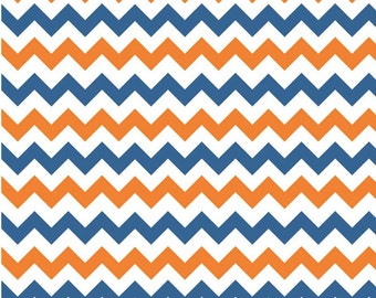 Small Chevron Orange/Blue by Riley Blake Designs Fat Quarter Cut - Chevron Fabric