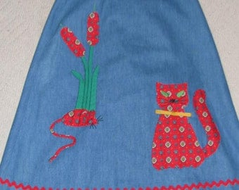 CATCH ME IF You Can Cat & Mouse Catherine Carr Circle Wrap Skirt // Size S Denim Blue Red Green 60's 70's Applique  Handmade Cattails