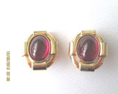 60s earrings CINER clip ons red glass oval gold finished metal