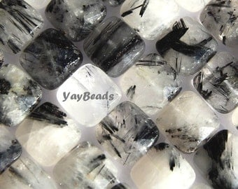 Tourmalinated Quartz 12mm Faceted Square Cushion Beads Black Rutilated Qty 8