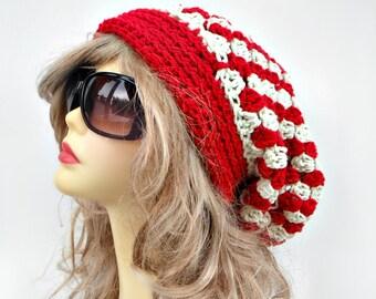 Womens Slouchy Hat  Womens Hat  Crochet Beanie Hat  Winter Hat   Winter Accessories Hair Accessories  Womens Accessories Checker Hat