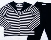 Vintage 80's Adrienne Vittadini Knit Nautical Set -  Medium