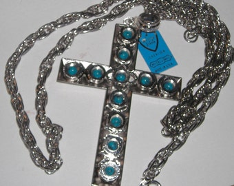 Vintage Whiting and Davis Silvertone and Turquoise Cross NIB Signed Whiting and Davis Large Cross with Chain