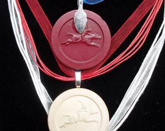 Clay Polo Poker Chip Game Piece Pendant on voile or leather necklace Red or White