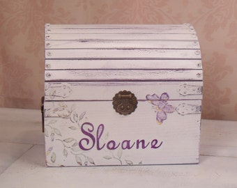 Girl's Keepsake Box, Shabby Chic, Memory Box, Keepsake Chest, Rustic, Personalized Box, Journal Box, Hand Painted, Purple, Butterflies, MDT