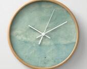 Blue Plaster, wall clock, Greek village photography, aqua, white, stone, soft,  distressed, timeless, nursery art, Lesvos Greece