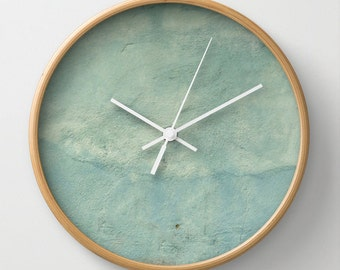 Blue Plaster, wall clock, Greek village photography, aqua, white, stone, soft,  distressed, timeless, nursery art, Lesvos Greece