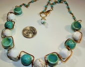 Necklace Handmade Bronze Wire with Magnesite Turquoise Howlite Ceramic Cloisonne Hand Made Chain Unique Customize Size Chunky Bold Geometric