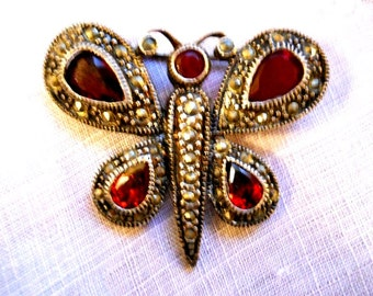 Vintage 1930s Art Deco Figural Butterfly Brooch French Country Signed Sterling Silver Red Garnets Orange Citrine Wings Victorian Pin Brooch