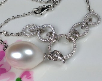 Bridal Necklace Huge Teardrop 16x11mm White Freshwater Pearl CZ Diamond Rings ALL Metal Made of 14K White Gold Plated Sterling Silver