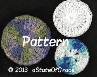 3 Facial Scrubbies PATTERN, Crochet Set # 1, INSTANT DOWNLOAD