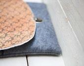 Deer Texture Print Cork & Fabric Envelope Clutch