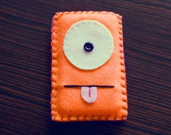 Felt Monster Phone or iPod Sock/Cover by BABUA - Orange