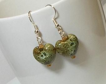 Moss Green Porcelain Heart Bead Dangle Earring Heart Drop Earring Green Earring