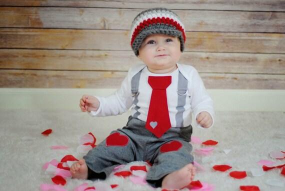 Baby Boy Tie Bodysuit. Hat. Valentines Day Grey and Red Tie Bodysuit with Suspenders - Photo Prop, Little Man, Heart Tie, XOXO, Red & Grey