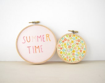 "Embroidery Hoop Wall Art Home Decor Set of Two - ""Summer Time"" sorbet pastel pink tangerine orange vintage retro floral beach house cottage"