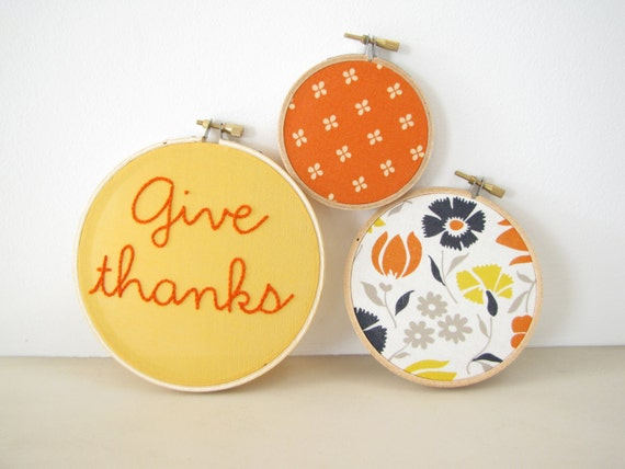 "Embroidery Hoop Wall Art Home Decor Set of 3 - ""Give thanks""pumpkin orange golden yellow navy floral fall autumn Thanksgiving decoration"