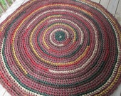 Autumn Rug Crochet Rag Rug 6' Round Cotton Washable Large Soft Handmade Kitchen Porch Country Red Brown Green Tan