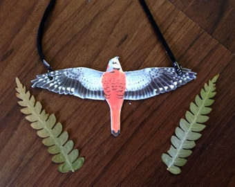 Kestrel in flight necklace, kestrel necklace, kestrel jewelry, bird necklace, falcon necklace, falcon jewelry