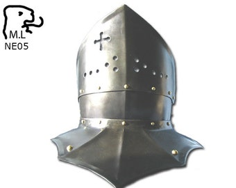 New Medieval style Gorget crusader in stainless steel Armor Larp ne05