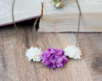 Purple flower necklace - polymer clay flower necklace - hand sculpted - floral jewelry - botanical jewelry