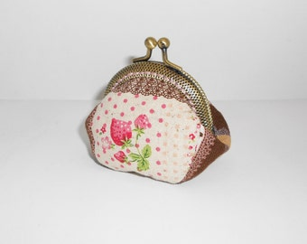 Strawberry chocolate dots pink lace  key chain/change pouch/purse/wallet w metal frame