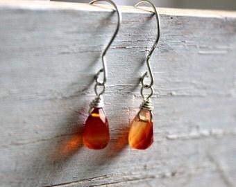 Carnelian Small Silver  Earrings - Tiny Glowing Gemstone Dangle Earrings - Simple Orange Handmade Earrings