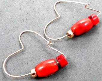 Hoop Earrings ,Gold Heart , Red Coral Beads, Romantic , Unconventional Design, Under 50, Valentine