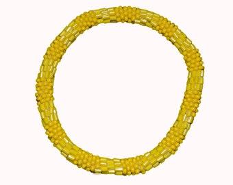 Textured Yellow Crocheted Beaded Bracelet, Seed Beads,Nepal,TB15