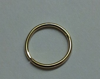"""One Perfect 18g 3/8"""" 18k solid yellow gold seem ring nostril cartilage septum nose lip lobe"""
